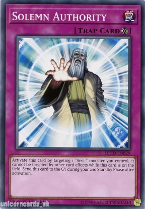 Picture of LEHD-ENB29 Solemn Authority 1st Edition Mint YuGiOh Card