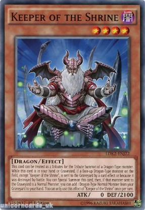 Picture of LDK2-ENJ22 Keeper of the Shrine 1st edition Mint YuGiOh Card