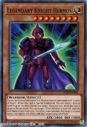 Picture of LEDD-ENA09 Legendary Knight Hermos 1st Edition Mint YuGiOh Card