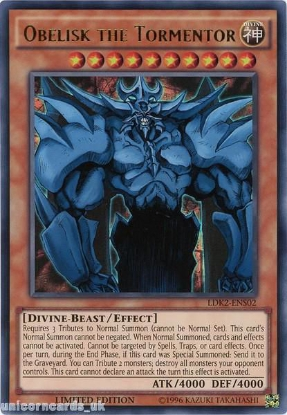 Picture of LDK2-ENS02 Obelisk the Tormentor Ultra Rare Limited Edition Mint YuGiOh Card