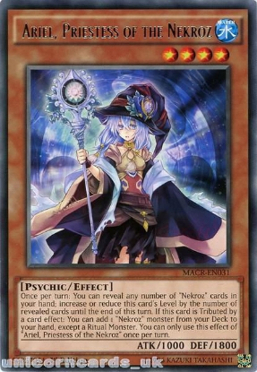 Picture of MACR-EN031 Ariel, Priestess of the Nekroz Rare 1st Edition Mint YuGiOh Card
