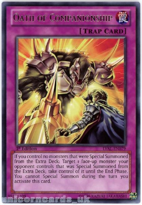 Picture of LVAL-EN079 Oath of Companionship Rare 1st Edition Mint YuGiOh Card