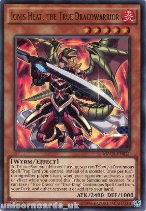Picture of MACR-EN021 Ignis Heat, the True Dracowarrior Ultra Rare UNL Edition Mint YuGiOh Card