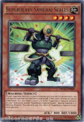 Picture of NECH-EN009 Superheavy Samurai Scales Rare 1st Edition Mint YuGiOh Card