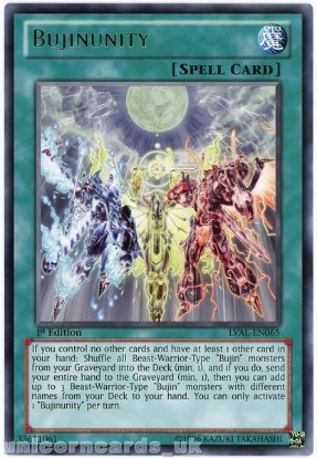 Picture of LVAL-EN065 Bujinunity Rare 1st Edition Mint YuGiOh Card