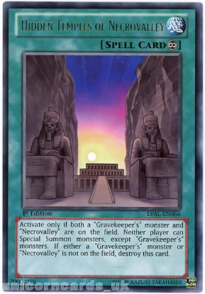 Picture of LVAL-EN066 Hidden Temples of Necrovalley Rare 1st Edition Mint YuGiOh Card