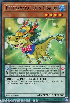 Picture of MACR-EN005 Performapal Coin Dragon Rare UNL Edition Mint YuGiOh Card