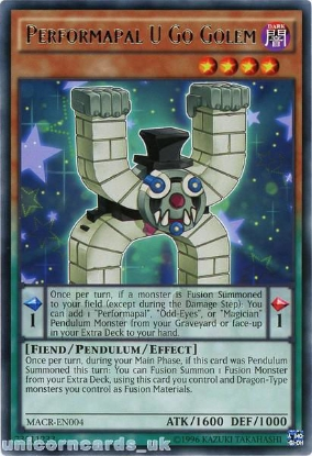 Picture of MACR-EN004 Performapal U Go Golem Rare UNL Edition Mint YuGiOh Card