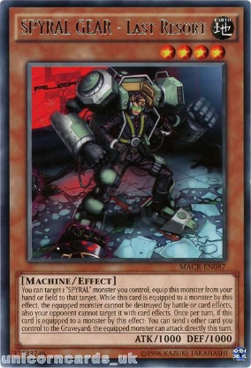 Picture of MACR-EN087 SPYRAL GEAR - Last Resort Rare UNL Edition Mint YuGiOh Card