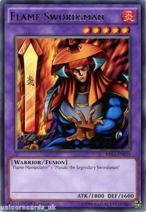 Picture of MIL1-EN038 Flame Swordsman Rare 1st edition Mint YuGiOh Card
