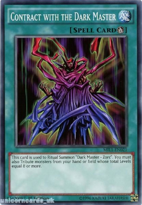 Picture of MIL1-EN021 Contract with the Dark Master 1st edition Mint YuGiOh Card