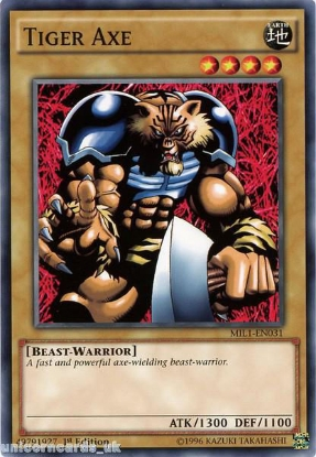 Picture of MIL1-EN031 Tiger Axe 1st edition Mint YuGiOh Card