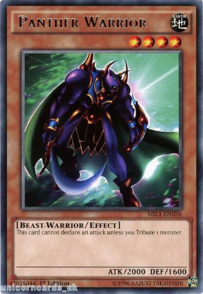 Picture of MIL1-EN036 Panther Warrior Rare 1st edition Mint YuGiOh Card