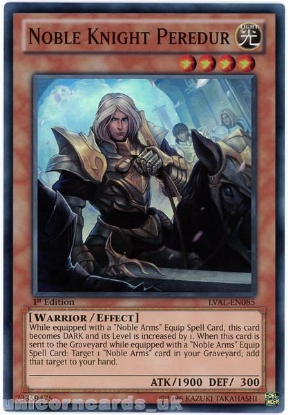 Picture of LVAL-EN085 Noble Knight Peredur Super Rare 1st Edition Mint YuGiOh Card