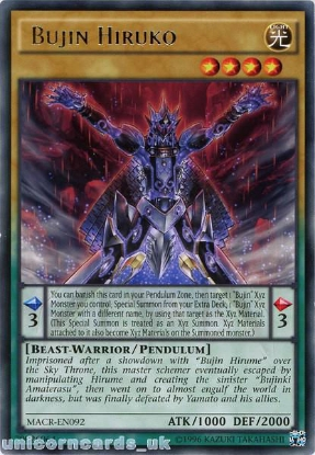Picture of MACR-EN092 Bujin Hiruko Rare UNL Edition Mint YuGiOh Card