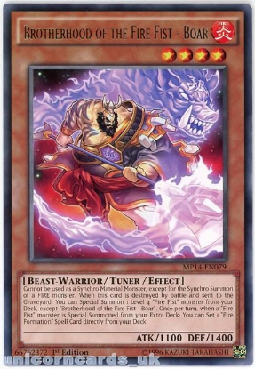 Picture of MP14-EN079 Brotherhood of the Fire Fist - Boar Rare 1st Edition Mint YuGiOh Card