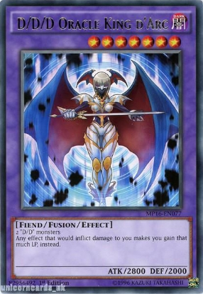 Picture of MP16-EN077 D/D/D Oracle King d'Arc Rare 1st Edition Mint YuGiOh Card