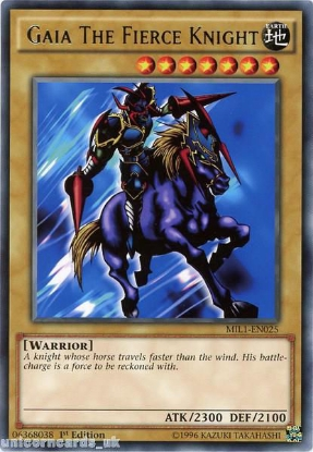Picture of MIL1-EN025 Gaia The Fierce Knight Rare 1st edition Mint YuGiOh Card