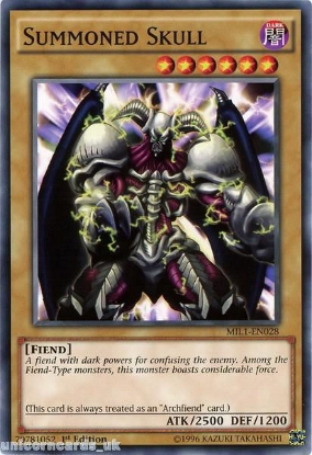 Picture of MIL1-EN028 Summoned Skull 1st edition Mint YuGiOh Card