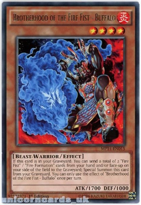 Picture of MP14-EN015 Brotherhood of the Fire Fist - Buffalo Rare 1st Edition YuGiOh Card