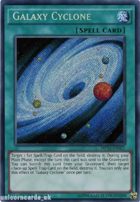 Picture of MP16-EN027 Galaxy Cyclone Secret Rare 1st Edition Mint YuGiOh Card