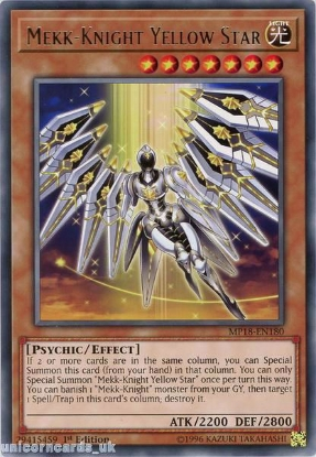 Picture of MP18-EN180 Mekk-Knight Yellow Star Rare 1st Edition Mint YuGiOh Card