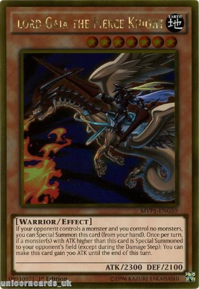 Picture of MVP1-ENG50 Lord Gaia the Fierce Knight Gold Rare 1st Edition Mint YuGiOh Card