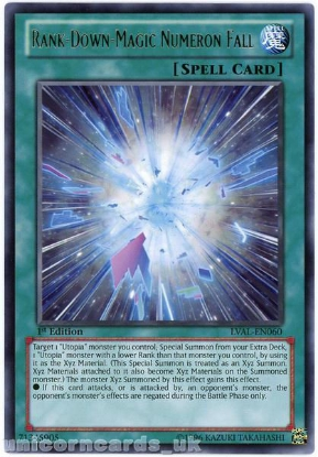 Picture of LVAL-EN060 Rank-Down-Magic Numeron Fall Rare 1st Edition Mint YuGiOh Card