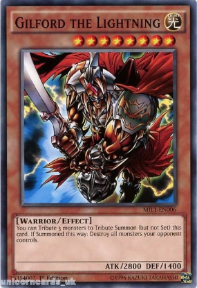 Picture of MIL1-EN006 Gilford the Lightning 1st edition Mint YuGiOh Card