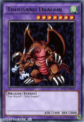 Picture of MIL1-EN039 Thousand Dragon Rare 1st edition Mint YuGiOh Card
