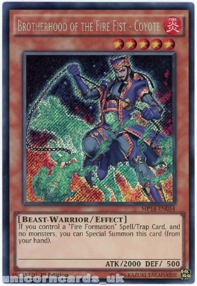 Picture of MP14-EN054 Brotherhood of the Fire Fist - Coyote Secret Rare 1st Edition Card