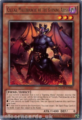 Picture of NECH-EN084 Calcab, Malebranche of the Burning Abyss Rare 1st Edition Mint YuGiOh Card