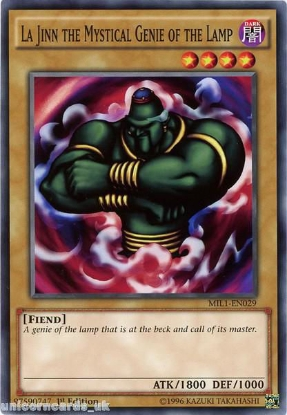 Picture of MIL1-EN029 La Jinn the Mystical Genie of the Lamp 1st edition Mint YuGiOh Card