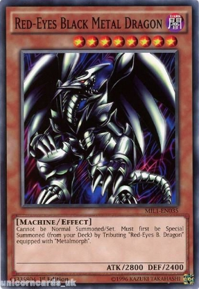 Picture of MIL1-EN035 Red-Eyes Black Metal Dragon 1st edition Mint YuGiOh Card