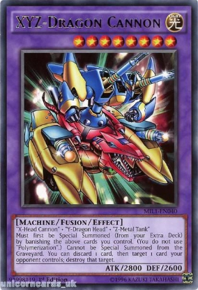 Picture of MIL1-EN040 XYZ-Dragon Cannon Rare 1st edition Mint YuGiOh Card
