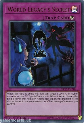 Picture of MP18-EN218 World Legacy's Secret Ultra Rare 1st Edition Mint YuGiOh Card