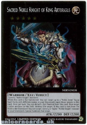 Picture of NKRT-EN038 Sacred Noble Knight of King Artorigus Platinum Rare Mint YuGiOh Card