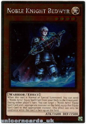 Picture of NKRT-EN002 Noble Knight Bedwyr Platinum Rare Limted Edition Mint YuGiOh Card