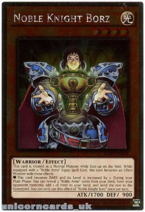 Picture of NKRT-EN009 Noble Knight Borz Platinum Rare Limted Edition Mint YuGiOh Card