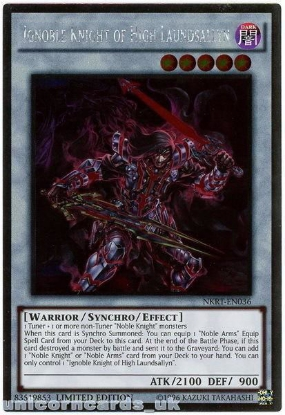 Picture of NKRT-EN036 Ignoble Knight of High Laundsallyn Platinum Rare Mint YuGiOh Card