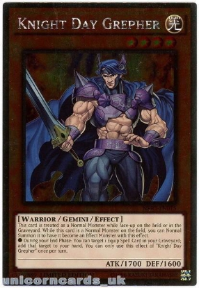 Picture of NKRT-EN015 Knight Day Grepher Platinum Rare Limted Edition Mint YuGiOh Card
