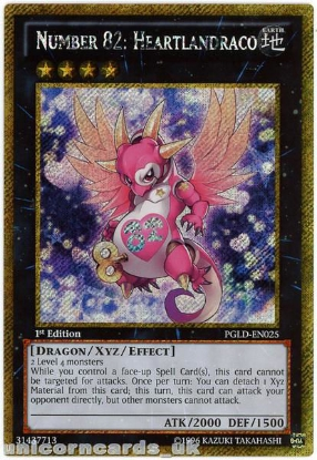 Picture of PGLD-EN025 Number 82: Heartlandraco Gold Secret Rare 1st Edition YuGiOh Card