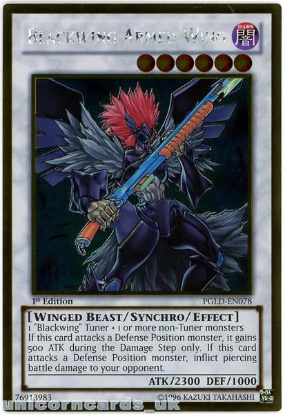 Picture of PGLD-EN078 Blackwing Armed Wing Gold Rare 1st Edition Mint YuGiOh Card