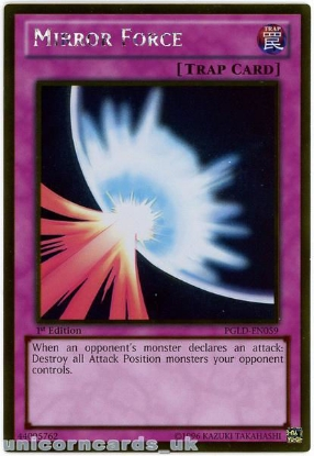 Picture of PGLD-EN059 Mirror Force Gold Rare 1st Edition Mint YuGiOh Card