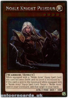 Picture of NKRT-EN010 Noble Knight Peredur Platinum Rare Limted Edition Mint YuGiOh Card