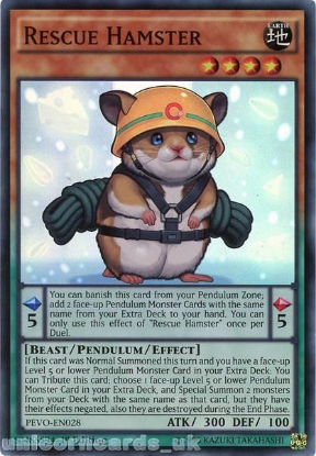 Picture of PEVO-EN028 Rescue Hamster Super Rare 1st Edition Mint YuGiOh Card