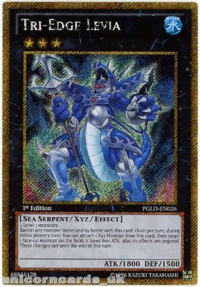 Picture of PGLD-EN026 Tri-Edge Levia Gold Secret Rare 1st Edition Mint YuGiOh Card