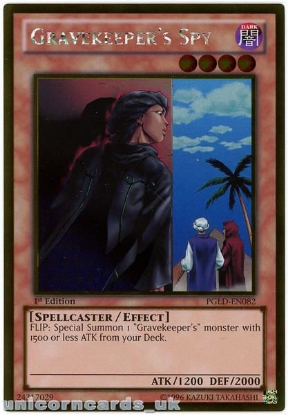 Picture of PGLD-EN082 Gravekeeper's Spy Gold Rare 1st Edition Mint YuGiOh Card
