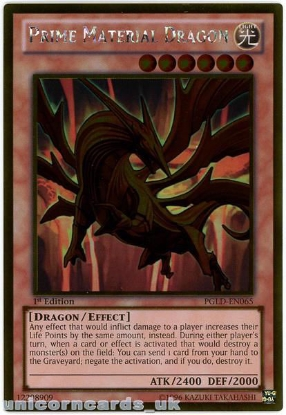 Picture of PGLD-EN065 Prime Material Dragon Gold Rare 1st Edition Mint YuGiOh Card