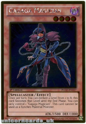 Picture of PGLD-EN037 Gagaga Magician Gold Rare 1st Edition Mint YuGiOh Card